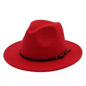 NEW RED FAUX WOOL WIDE BRIM FEDORA HAT ONE SIZE